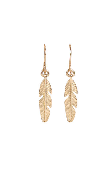 Warehouse, FEATHER DROP EARRINGS Gold Colour 0