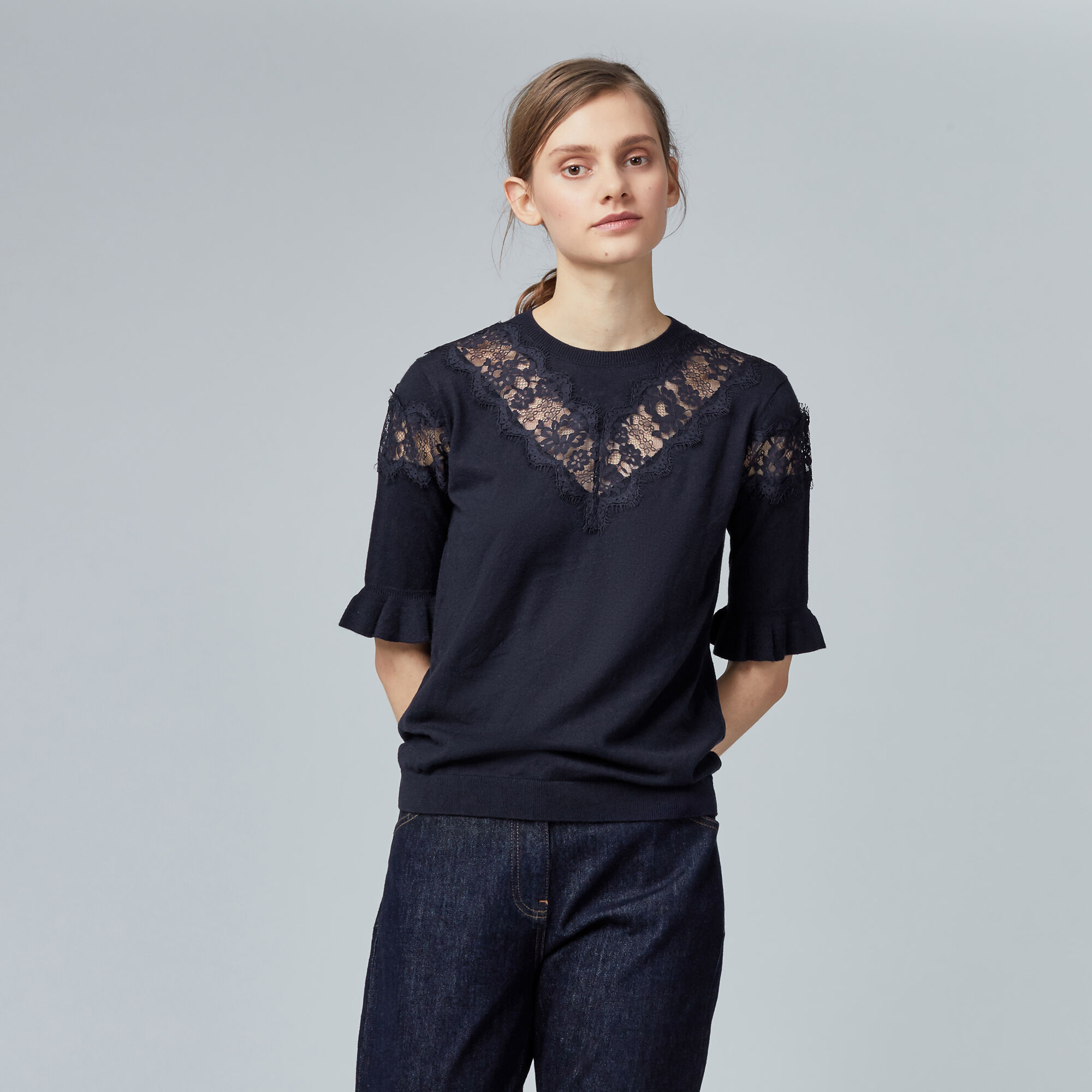 Warehouse, LACE INSERT FRILL CUFF JUMPER Navy 1