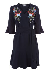 Warehouse, FREIDA EMBROIDERED DRESS Navy 0