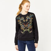 Warehouse, DEER EMBROIDERED SWEAT Black 4