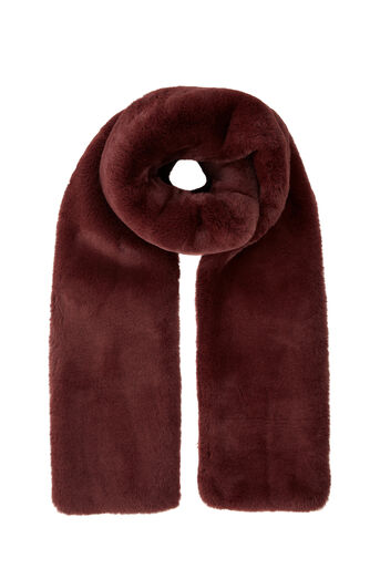 Warehouse, FAUX FUR SCARF Berry 0