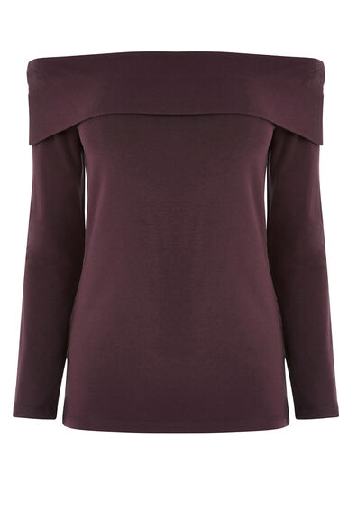 Warehouse, BARDOT TOP Dark Purple 0