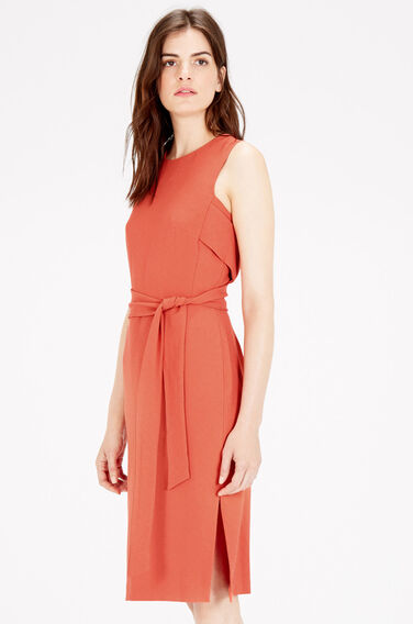 Warehouse, SLEEVELESS BELTED DRESS Coral 0