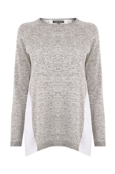 Warehouse, MIXED FABRIC LACE JUMPER Light Grey 0