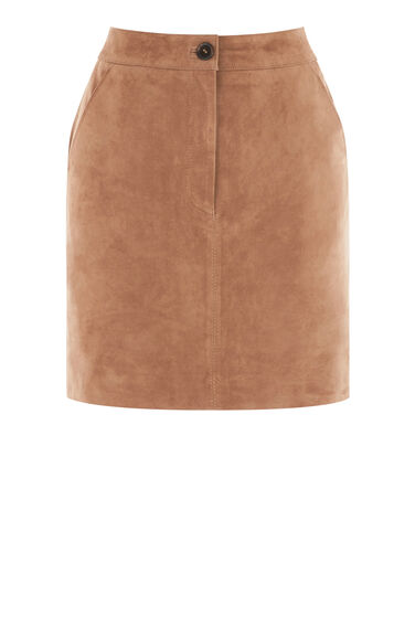 Warehouse, Suede Fly Detail Skirt Tan 0