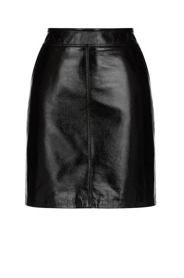 Warehouse, Patent Leather Pelmet Skirt Black 0