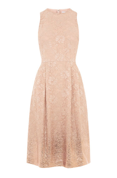 Warehouse, FOIL LACE DRESS Beige 0