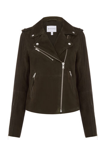 Warehouse, SUEDE BIKER JACKET Dark Green 0