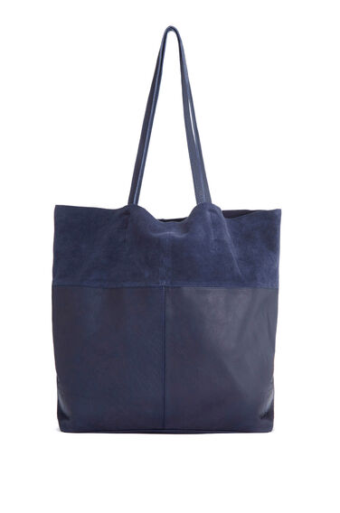 Warehouse, Leather Panelled Shopper Bag Navy 0