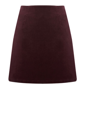Warehouse, VELVET PELMET SKIRT Berry 0
