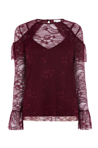 Warehouse, CHANTILLY LACE TOP Dark Red 0