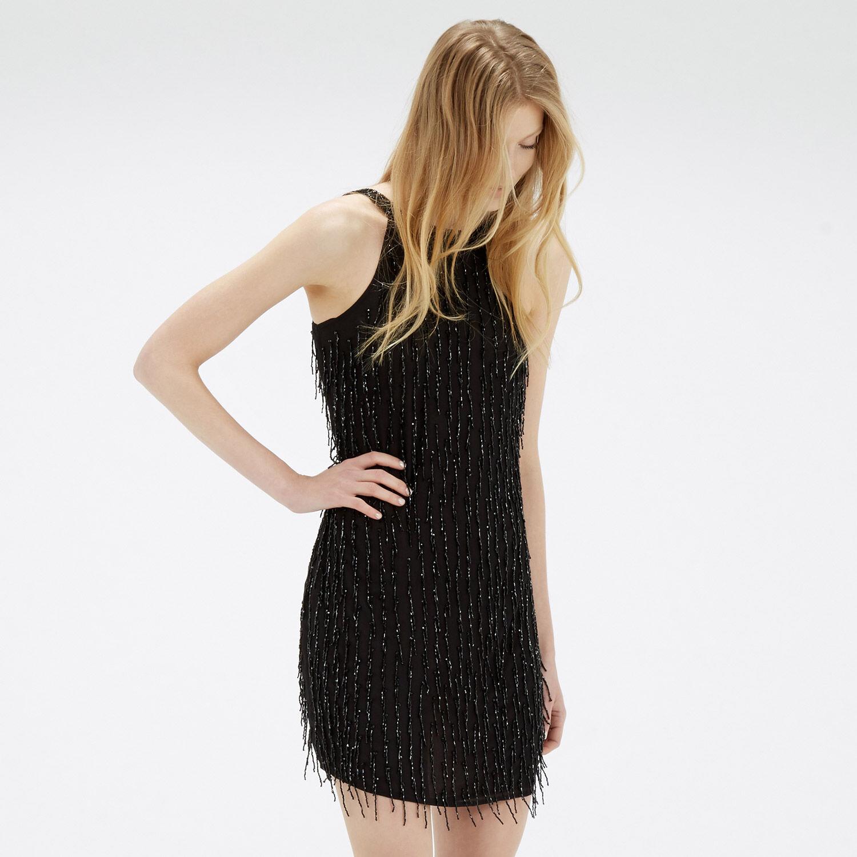 Warehouse, Drop Bead Embellished Dress Black 1