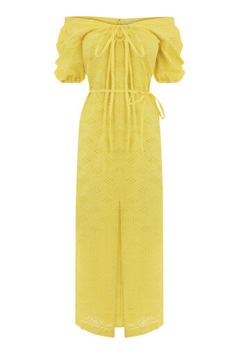 Warehouse, BROIDERY OFF SHOULDER DRESS Yellow 0