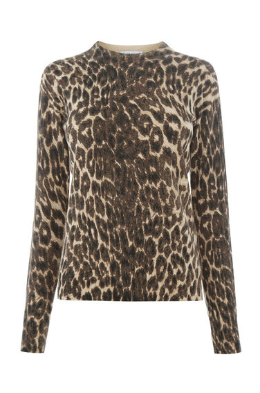 Warehouse, ANIMAL PRINTED CREW JUMPER Brown Print 0