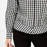 Warehouse, Gingham Blouson Blouse Black Pattern 4