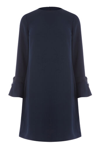 Warehouse, GROSGRAIN CUFF DRESS Navy 0