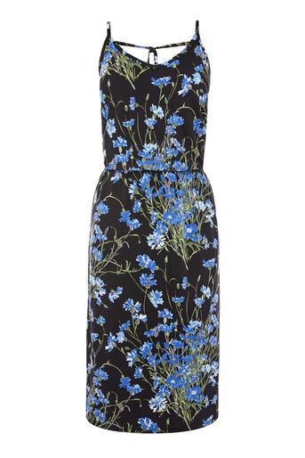 Warehouse, FULL BLOOM MIDI DRESS Black Pattern 0
