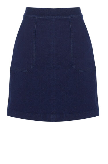 Warehouse, Pocket Detail Denim Skirt Indigo Denim 0
