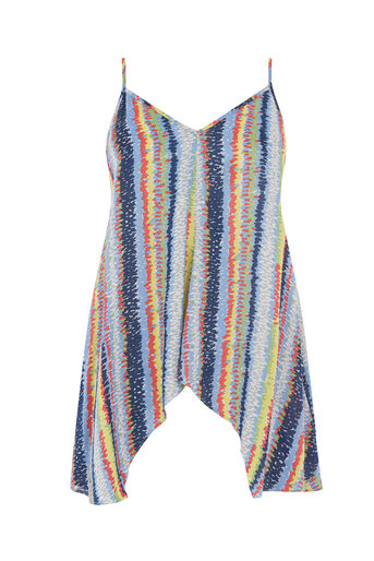 Warehouse, DASH STRIPE HANKY HEM CAMI TOP Blue Stripe 0
