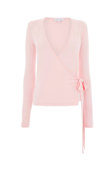 Warehouse, WRAP LONG SLEEVE TOP Light Pink 0