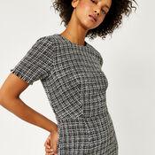 Warehouse, MONO TWEED DRESS Black Pattern 4