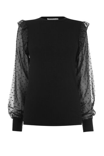 Warehouse, SPARKLE WOVEN SLEEVE JUMPER Black 0