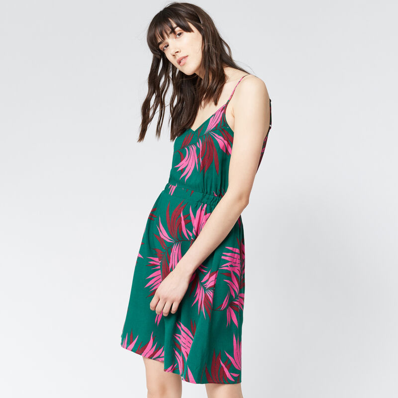 Warehouse, GRAPHIC PALM STRAPPY DRESS Green Print 1