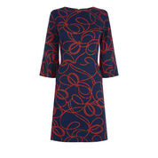 Warehouse, ROPE PRINT PONTE DRESS Red Pattern 0