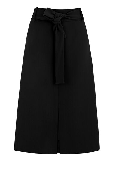 Warehouse, BELTED MIDI SKIRT Black 0