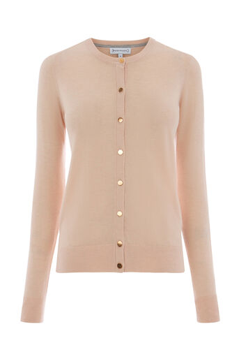 Warehouse, Cardigan ras du cou Rose clair 0