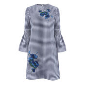 Warehouse, DELIA EMBROIDERY GINGHAM DRESS Navy 0