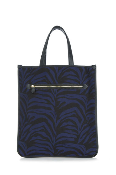 Warehouse, JUNGLE STRIPE OVERSPILL BAG Black Pattern 0