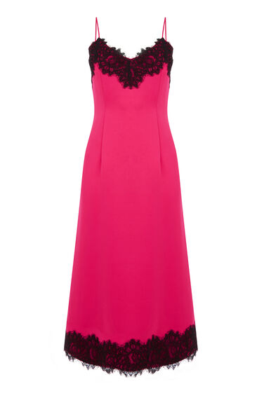 Warehouse, LACE TRIM CAMI DRESS Bright Pink 0