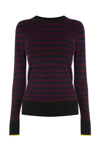 Warehouse, BRETON BLOCK STRIPE JUMPER Berry 0