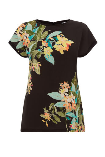 Warehouse, TROPICAL PRINT WOVEN FRONT TEE Black Pattern 0