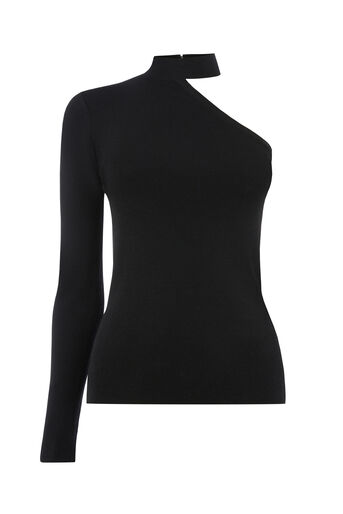 Warehouse, ASYMMETRIC CHOKER NECK TOP Black 0
