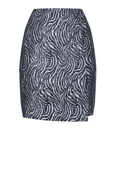 Warehouse, ZEBRA METALLIC PELMET SKIRT Black Pattern 0