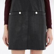Warehouse, Faux Leather Popper Dress Black 4
