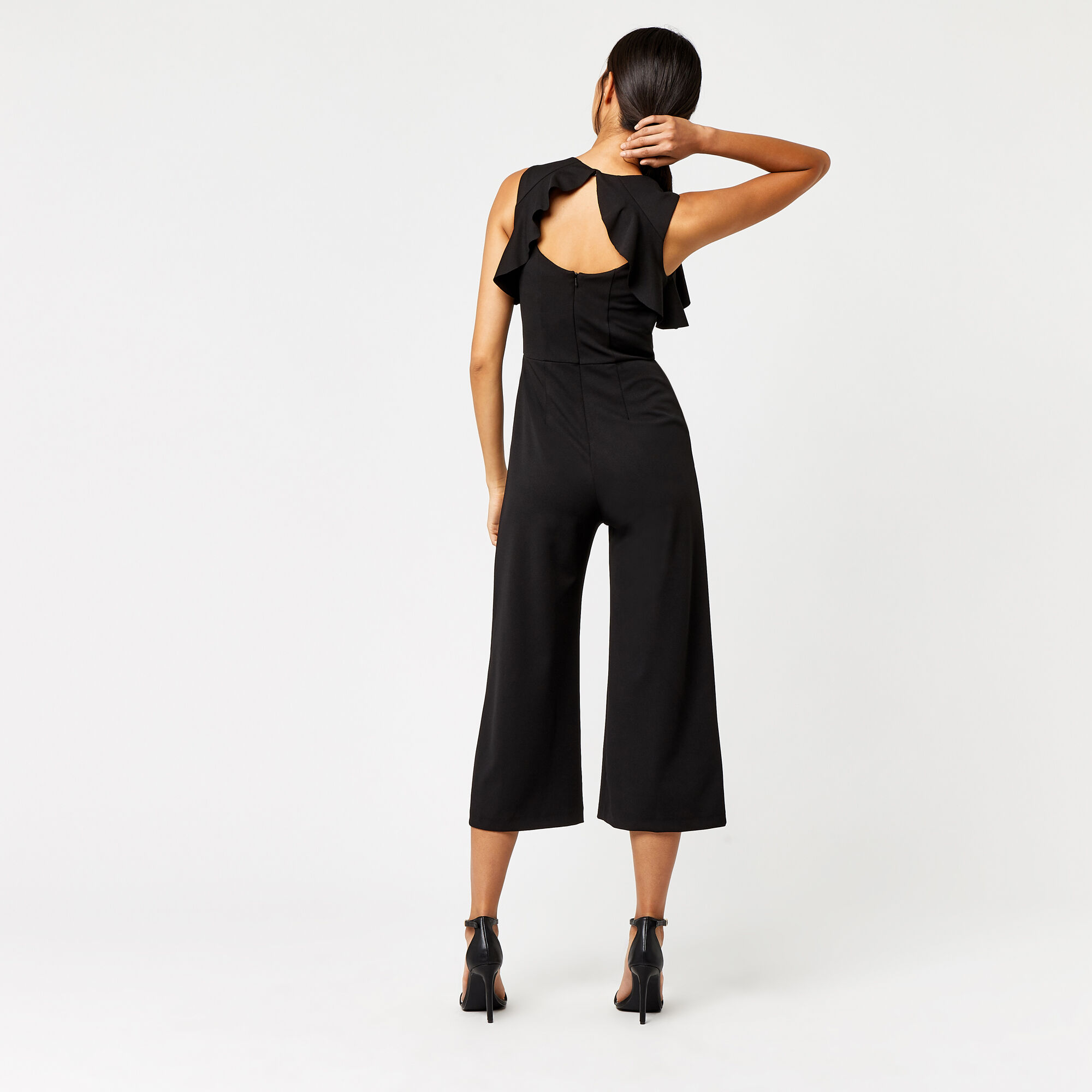 Warehouse, CREPE OPEN BACK FRILL JUMPSUIT Black 1