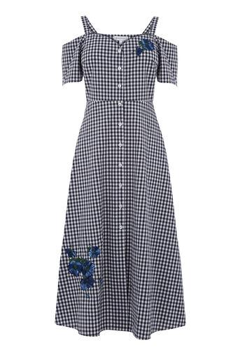 Warehouse, Midi-jurk Delia met borduursels Marineblauw 0