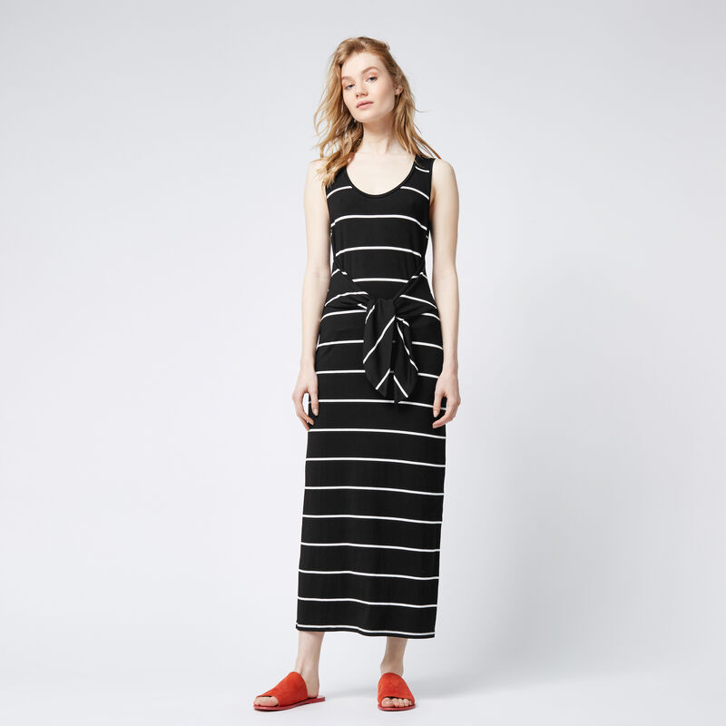 Warehouse, STRIPE TIE FRONT MAXI DRESS Black Stripe 1