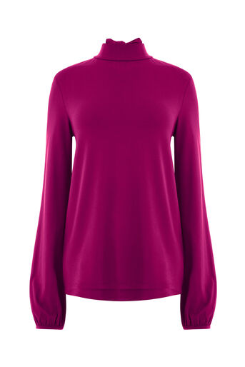 Warehouse, PLEATED HIGH NECK TOP Magenta 0