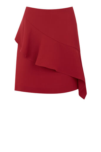 Warehouse, RUFFLE SKIRT Bright Red 0