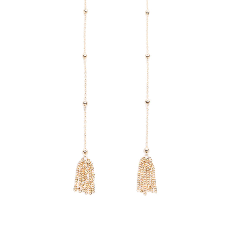 Warehouse, LONG TASSEL DROP CHOKER Gold Colour 1