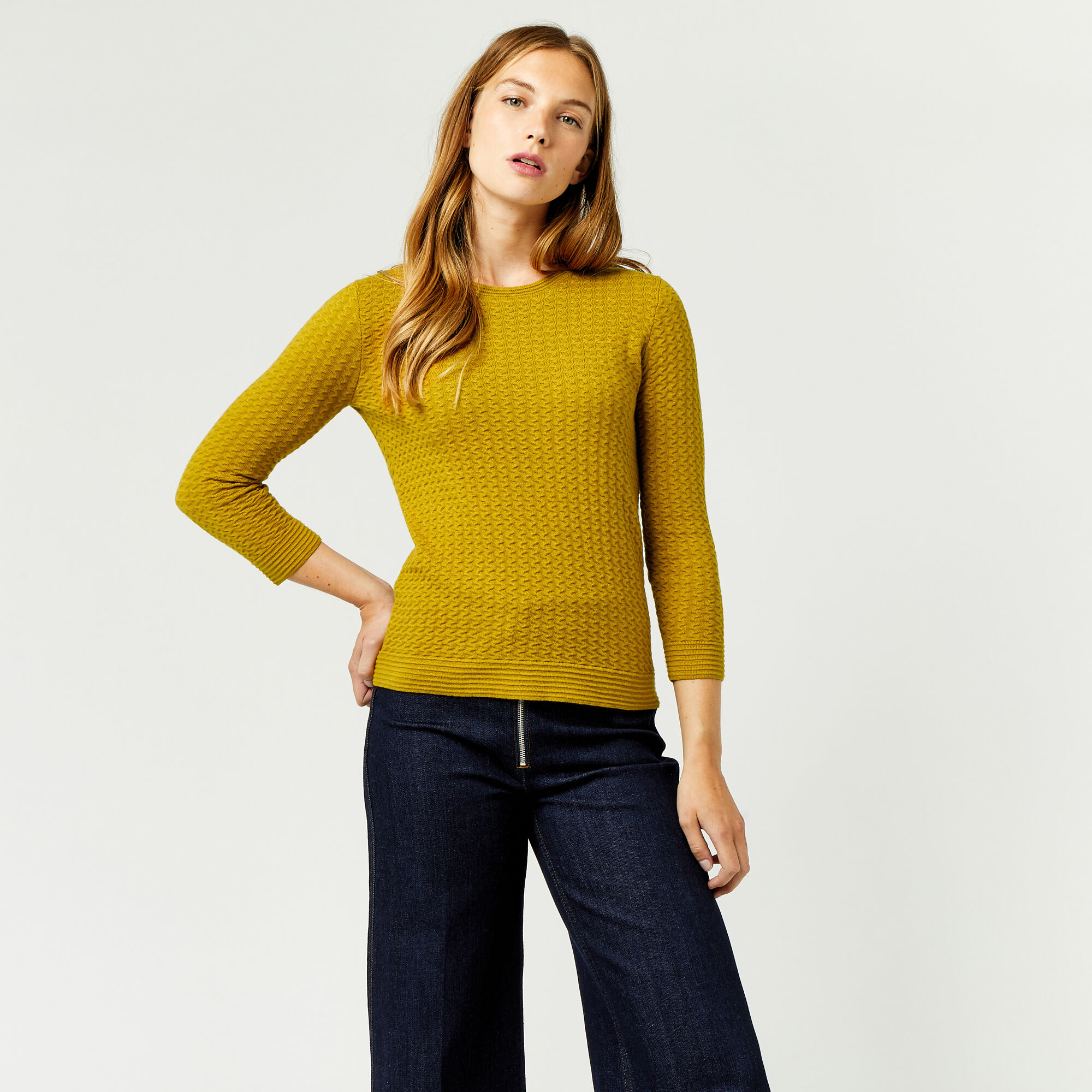 Warehouse, RIPPLE STITCH JUMPER Mustard 1