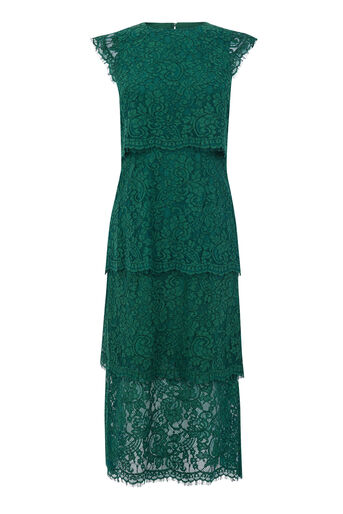 Warehouse, TIERED LACE DRESS Dark Green 0