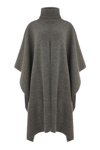 Warehouse, SPLIT FRONT PONCHO Dark Grey 0