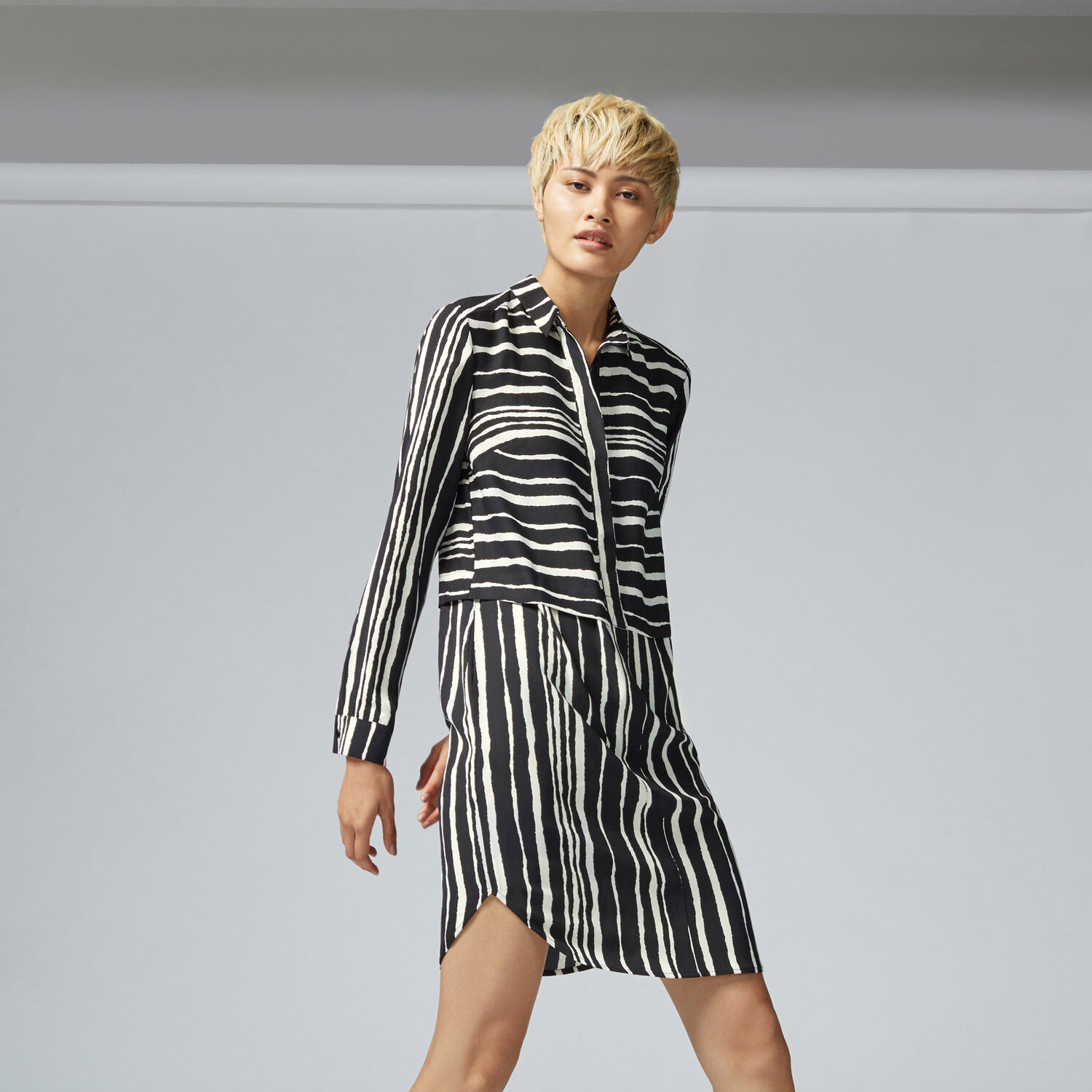 Warehouse, TORN STRIPE SHIRT DRESS Black Stripe 1