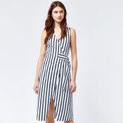 Warehouse, STRIPE WRAP DRESS Blue Stripe 1