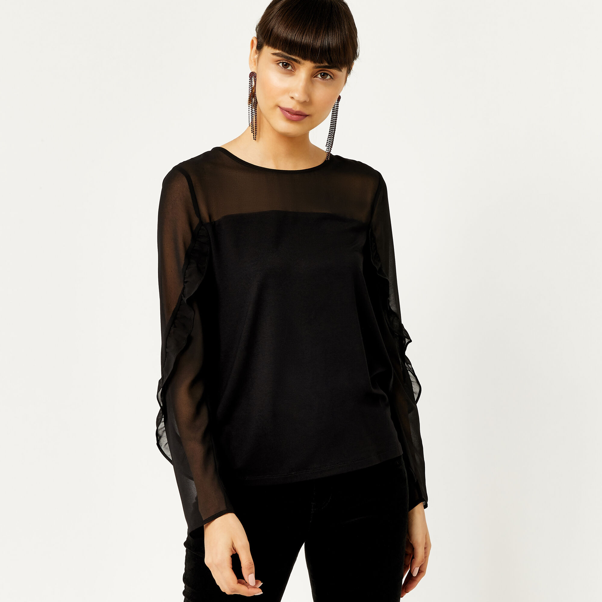 Warehouse, RUFFLE SHEER SLEEVE TOP Black 1